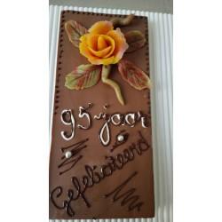 chocolade tablet met tekst en bloem