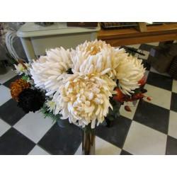 grote crémekleurige chrysant, 3st.